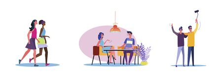 Set of casual people spending time together. Flat vector illustrations of men and women being friends. Friendship and relationship concept for banner, website design or landing web page Çizim