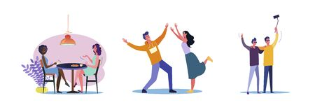 Set of casual men and women hanging out together. Flat vector illustrations of young people being friendly. Friendship and relationship concept for banner, website design, landing web page