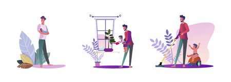 Set of young men being dads. Flat vector illustrations of casual men doing activities with their kids indoors. Fatherhood and parenting concept for banner, website design or landing web page  イラスト・ベクター素材