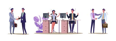 Set of busy people communicating with each other. Flat vector illustrations of men and women being at office. Partnership and office environment concept for banner, website design or landing web page Illusztráció