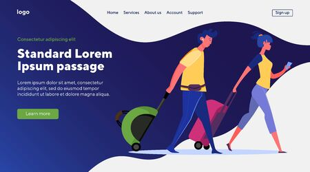 Couple of travelers with luggage. Male and female tourists wheeling suitcases flat vector illustration. Tourism, airport, vacation, trip concept for banner, website design or landing web page