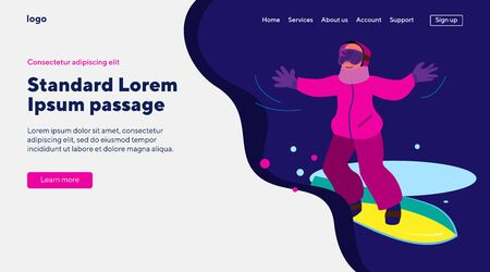 Child in pink outfit snowboarding. Kid in mask standing on board on dark blue background. Flat vector illustration. Winter, leisure, school concept for banner, website design or landing web page Illusztráció