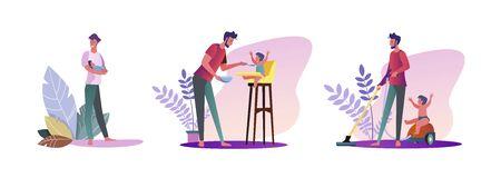 Insieme di giovani che trascorrono del tempo con i loro figli. Illustrazioni vettoriali piatte di uomini casuali che sono papà. Concetto di paternità e genitorialità per banner, design di siti Web o pagine Web di destinazione Vettoriali