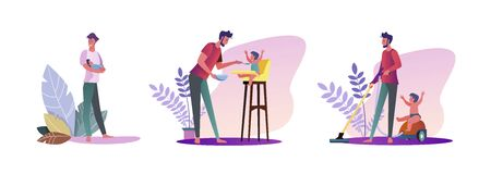 Set of young men spending time with their kids. Flat vector illustrations of casual men being dads. Fatherhood and parenting concept for banner, website design or landing web page Vettoriali