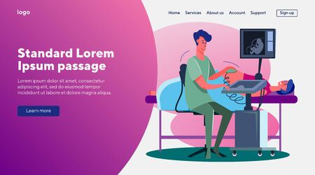 Ultrasound pregnancy screening. Pregnant woman, monitor, doctor. Flat vector illustrations. Expecting, technology, equipment concept for banner, website design or landing web page