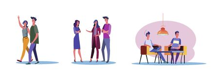 Set of casual people having warm friendship. Flat vector illustrations of men and women being close to each other. Friendship and relationship concept for banner, website design or landing web page
