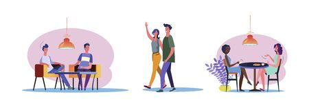 Set of casual men and women chatting to each other. Flat vector illustrations of young people being friendly. Friendship and relationship concept for banner, website design, landing web page