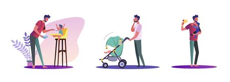 Set of casual men being single parents. Flat vector illustrations of young men spending quality time with their kids. Fatherhood and parenting concept for banner, website design or landing web page Çizim