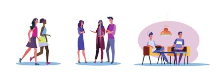 Set of casual men and women talking to each other. Flat vector illustrations of young people spending time together. Friendship and relationship concept for banner, website design or landing web page Çizim