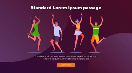 Young people enjoying party. Dancing, having fun, students flat vector illustration. Disco, festival, night concept for banner, website design or landing web page