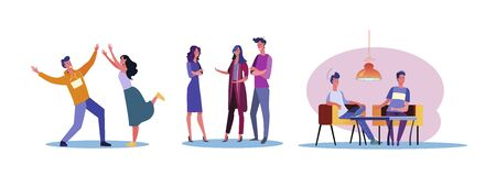 Set of casual people enjoying each other company. Flat vector illustrations of men and women spending time together. Friendship and relationship concept for banner, website design or landing web page