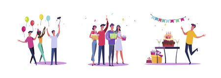 Set of casual people having fun at birthday. Flat vector illustrations of men and women being happy at event. Celebration and festivity concept for banner, website design or landing web page