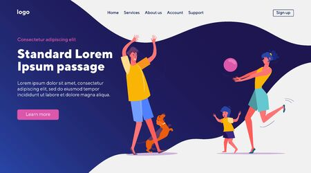 Joyful young family playing outdoors. Couple with kid and dog throwing ball flat vector illustration. Leisure, lifestyle, parenthood concept for banner, website design or landing web page 向量圖像