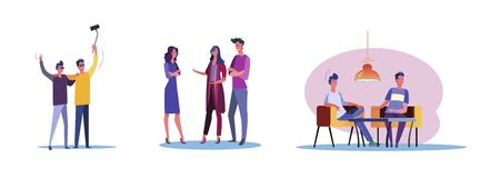 Set of casual people having fun together. Flat vector illustrations of men and women being friends. Friendship and relationship concept for banner, website design or landing web page