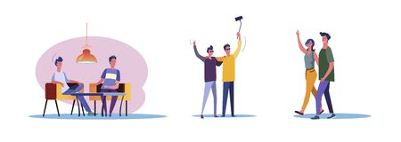 Set of casual men and women being friends. Flat vector illustrations of young people enjoying each others company. Friendship and relationship concept for banner, website design, landing web page