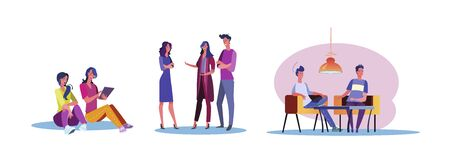 Set of casual people hanging out together. Flat vector illustrations of men and women spending time together. Friendship and relationship concept for banner, website design or landing web page