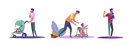 Set of casual men hanging out with their children. Flat vector illustrations of young men experiencing being dads. Fatherhood and parenting concept for banner, website design or landing web page  イラスト・ベクター素材