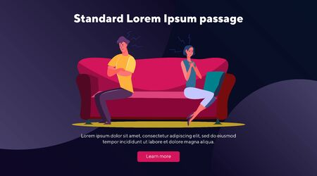 Unhappy couple in conflict. Sad man and woman sitting on couch separately flat vector illustration. Quarrel, breakup, trouble concept for banner, website design or landing web page