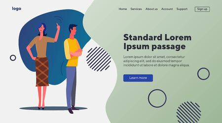 Angry couple in conflict. Man and woman arguing flat vector illustration. Quarrel, problem, relationship concept for banner, website design or landing web page