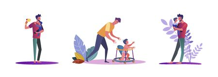Set of casual men being fathers. Flat vector illustrations of young men hanging out with their kids. Fatherhood and parenting concept for banner, website design or landing web page