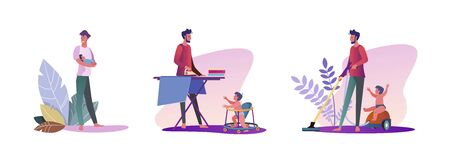 Set of young men hanging out with their kids. Flat vector illustrations of casual men being dads. Fatherhood and parenting concept for banner, website design or landing web page  イラスト・ベクター素材