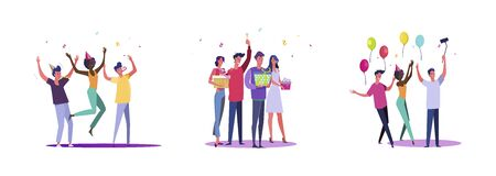 Set of casual people celebrating something. Flat vector illustrations of men and women having fun at party. Celebration and festivity concept for banner, website design or landing web page Vettoriali