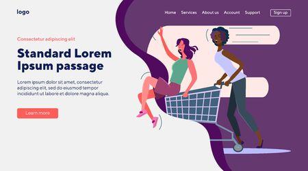 Female shoppers celebrating sale. Girls riding on cart, having fun flat vector illustration. Friendship, shopping, promo concept for banner, website design or landing web page