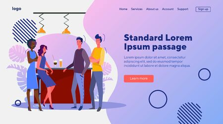Guys and girls meeting in bar. Friends, acquaintance, drink flat vector illustration. Acquaintance, dating, flirt concept for banner, website design or landing web page