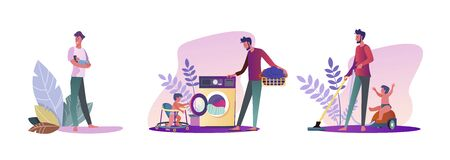 Set of young men being parents. Flat vector illustrations of casual men experiencing fatherhood. Fatherhood and parenting concept for banner, website design or landing web page
