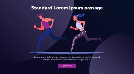Couple jogging together. Man and woman running outdoors flat vector illustration. Lifestyle, competition, sport concept for banner, website design or landing web page