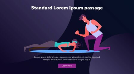 Woman in fitness apparel doing pushups. Fitness trainer working with woman in gym line flat vector illustration. Fitness, body training, exercise concept for banner, website design or landing web page