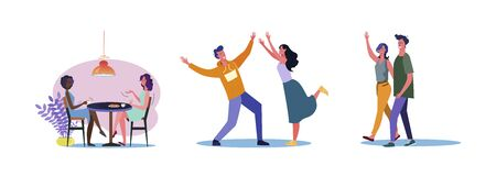 Set of casual people being friends. Flat vector illustrations of men and women with each other outside and in cafe. Friendship and relationship concept for banner, website design or landing web page