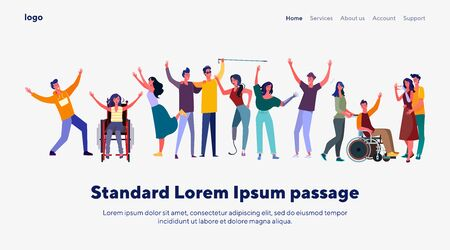 Disabled people community. Group of handicapped men and women with friend or volunteers. Flat vector illustrations. Diversity, communication concept for banner, website design or landing web page