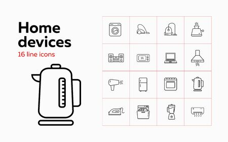 Home devices line icon set. Set of line icons on white background. Soundbar, conditioner, fridge. Vector illustration can be used for topics like home, kitchen, technics