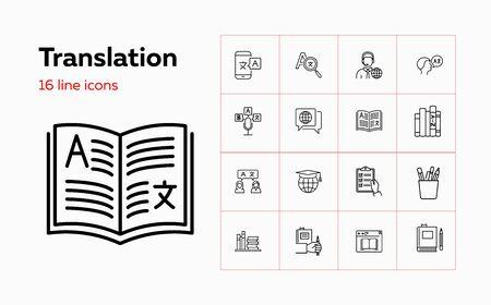Translation icons. Set of line icons. Dictionary, online translator, language. Linguistics concept. Vector illustration can be used for topics like education, communication, applications Ilustração