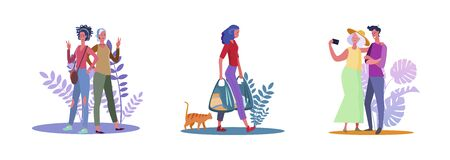 Set of friends posing for camera and making selfie. Flat vector illustrations of woman walking with grocery bags. Friendship, selfie, shopping concept for banner, website design or landing web page