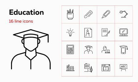 Education line icon set. Stationery, graduation, books. Studying concept. Can be used for topics like training courses, distance learning, university degree