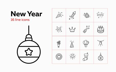 New Year line icon set. Wreath, ornament, firework. Celebration concept. Can be used for topics like party, holiday, Christmas eve