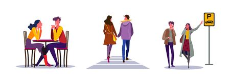 Set of couple on romantic date. Flat vector illustrations of man and woman waiting for taxi. Dating, romance, public transport concept for banner, website design or landing web page