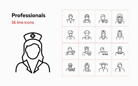 Professionals line icon set. Doctor, sportsman, policeman. Occupation concept. Can be used for topics like work, vocation, expertise Иллюстрация