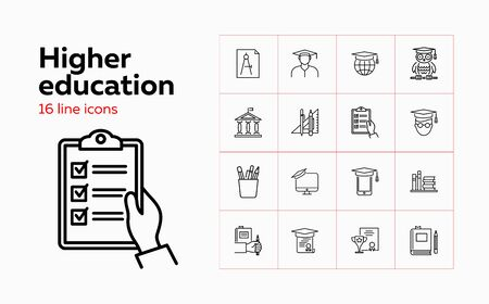 Higher education line icon set. Owl, graduation cap, diploma. Studying concept. Can be used for topics like college, honor degree, learning Vektoros illusztráció