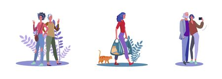 Set of friends posing for photoshoot and selfie. Flat vector illustrations of woman carrying grocery bags. Friendship, selfie, posing, shopping concept for banner, website design or landing web page Иллюстрация