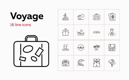 Voyage icons. Set of line icons. Hotel, passport, luggage, airplane. Trip concept. Vector illustration can be used for topics like travel, tourism, transportation