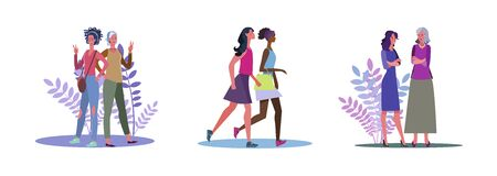 Set of female friends chatting and going out. Flat vector illustrations of women walking around. Friendship, leisure time, conversation concept for banner, website design or landing web page