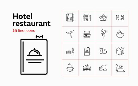 Hotel restaurant line icon set. Set of line icons on white background. Hotel, food, dish. Food concept. Vector illustration can be used for topics like hotel, restaurant, cafe