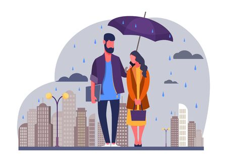 Young couple in rain vector illustration. Man and woman in raincoats standing under umbrella on urban street. Autumn rain image for weather, season, climate concept