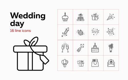 Wedding day line icon set. Gifts, cake, couple of flutes. Celebration concept. Can be used for topics like party, holiday, decoration, special day