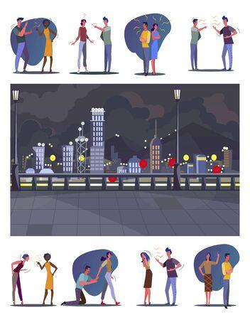 Relazioni tossiche impostate. Coppie che litigano, che litigano con gli amici, vista notturna della città. Illustrazioni vettoriali piatte. Conflitto, concetto di argomento per banner, progettazione di siti Web o pagina Web di destinazione