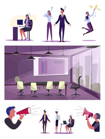 Inefficient employees set. Confused irresponsible employees throwing papers, shrugging. Flat vector illustrations. Business losers, failure concept for banner, website design or landing web page