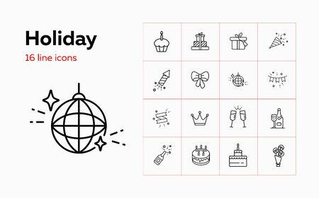 Holiday line icon set. Ornament, dessert, gifts, wine. Celebration concept. Can be used for topics like birthday party, wedding, new year